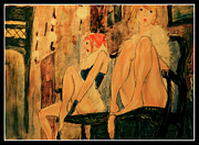 two prostitutes in Paris I Print by Ricardo Di ceglia