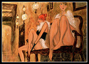 Prostitutes Paintings - two prostitutes in Paris II by Ricardo Di ceglia