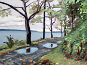 Jogging Paintings - Two Puddle Path by Edwin Abreu