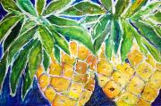 Fresh Green Painting Posters - Two Purple Pineapples Poster by Julie Kerns Schaper - Printscapes