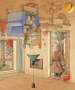 Rabbits Prints - Two Rabbits Print by Kestutis Kasparavicius