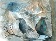 Blackbird Paintings - Two Ravens by Arline Wagner