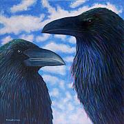 Corvid Prints - Two Ravens Print by Brian  Commerford