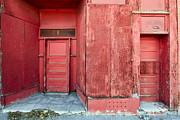 Red Buildings Framed Prints - Two Red Doors Framed Print by James Steele