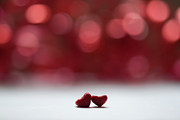 Romance Framed Prints - Two Red Hearts And Red Bokeh Background Framed Print by Gil Guelfucci