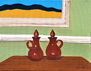 Pitchers Painting Prints - Two Red Pitchers Print by Tom Amiss