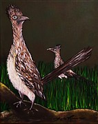 Roadrunner Paintings - Two Roadrunners Curiosity by Lois    Rivera