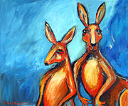 Kangaroo Paintings - Two Roos by Leanne Wilkes