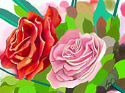 Cape Cod Paintings - Two Roses For You by Douglas Auld
