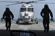 Royal Navy Art - Two Royal Navy Sailors Prepare by Stocktrek Images