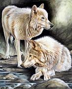 Wolves Tapestries - Textiles Posters - Two Poster by Sandi Baker