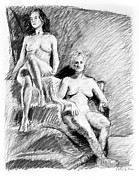 Grayscale Drawings - Two seated nudes figure drawing by Adam Long