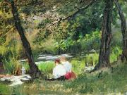 Wooded Paintings - Two Seated Women by Mary Stevenson Cassatt