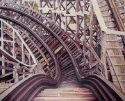 Roller Coaster Painting Posters - Two Seconds to a Hard Left Poster by Victor Bonderoff