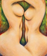 Curvy Beauty Paintings - Two sensuous nudes in the forest by Melle Varoy