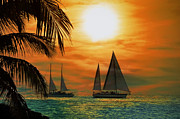 Sail Boats Prints - Two Ships Passing in the Night Print by Bill Cannon