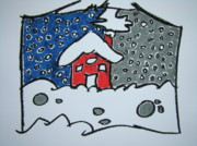 Illustrative Framed Prints - Two Sides Of Winter Framed Print by Pat  Lackenbauer