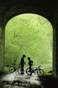 Tunnels Posters - Two Silhouetted Cyclists Stop Poster by Richard Nowitz