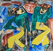 Concert Painting Originals - Two Singers by Padma Prasad