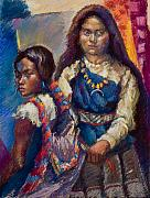 Native American Pastels - Two Sisters by Ellen Dreibelbis