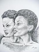 Sisters Drawings Originals - Two Sisters by Otis  Cobb