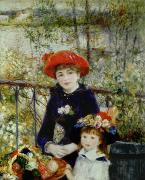 Renoir Painting Framed Prints - Two Sisters Framed Print by Pierre Auguste Renoir