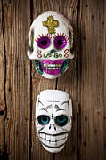 Vertical Prints - Two skull masks Print by Garry Gay
