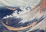 Two Waves Prints - Two Small Fishing Boats on the Sea Print by Hokusai
