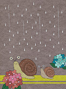 Yellow Line Framed Prints - Two Snails In Rain Framed Print by Miyako Matsuda