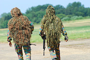 Camouflage Clothing Posters - Two Snipers Of The Belgian Army Dressed Poster by Luc De Jaeger