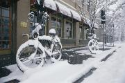 World Cultures Metal Prints - Two Snow-covered Bicycles Rest Metal Print by Michael S. Lewis