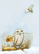 Owl Pastels - Two Snowy Owls  by Marina Durante