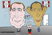 Caricature Drawings Posters - Two Socialists vs Austerity Poster by Yasha Harari