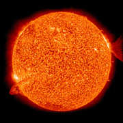 Solar Flares Posters - Two Solar Prominences Erupt Poster by Stocktrek Images