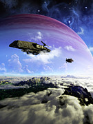 Interstellar Travel Prints - Two Spacecraft Prepare To Depart Print by Brian Christensen