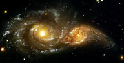 Colorful Metal Prints - Two Spiral Galaxies Metal Print by The  Vault