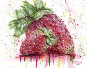 Drips Painting Prints - Two Strawberries Print by Arleana Holtzmann