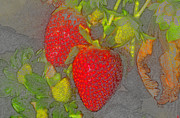 Strawberry Digital Art Prints - Two Strawberries Print by David Lee Thompson