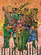 Ethnic Painting Metal Prints - Two Street Sounds Metal Print by Larry Poncho Brown