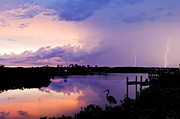 Storm Clouds; Sunset; Twilight; Water Framed Prints - Two Strikes Framed Print by Mal Bray