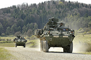 Combat Vehicles Framed Prints - Two Stryker Vehicles At The Hohenfels Framed Print by Stocktrek Images