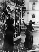 City Posters Posters - Two Suffragettes Posting A Billboard Poster by Everett