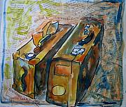 Tilly Strauss Mixed Media Metal Prints - Two Suitcases with financial statements Metal Print by Tilly Strauss