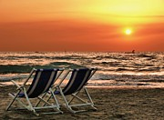 Italian Sunset Posters - Two Sun Chairs On Beach Poster by Francesco Pascale