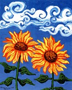Fine Art Original Prints - Two Sunflowers Print by Genevieve Esson