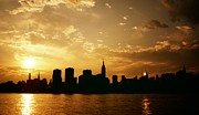 New York City Skyline Photo Framed Prints - Two Suns - The New York City Skyline in Silhouette at Sunset Framed Print by Vivienne Gucwa