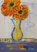 Primitive Drawings - Two Sunshine Flowers by Mary Carol Williams