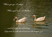 Faithfulness Prints - Two Swans - Marriage Vows Print by Yali Shi