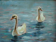 Swans... Paintings - Two Swans by Holly LaDue Ulrich