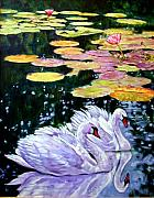 Swans... Painting Posters - Two Swans in the Lilies Poster by John Lautermilch
